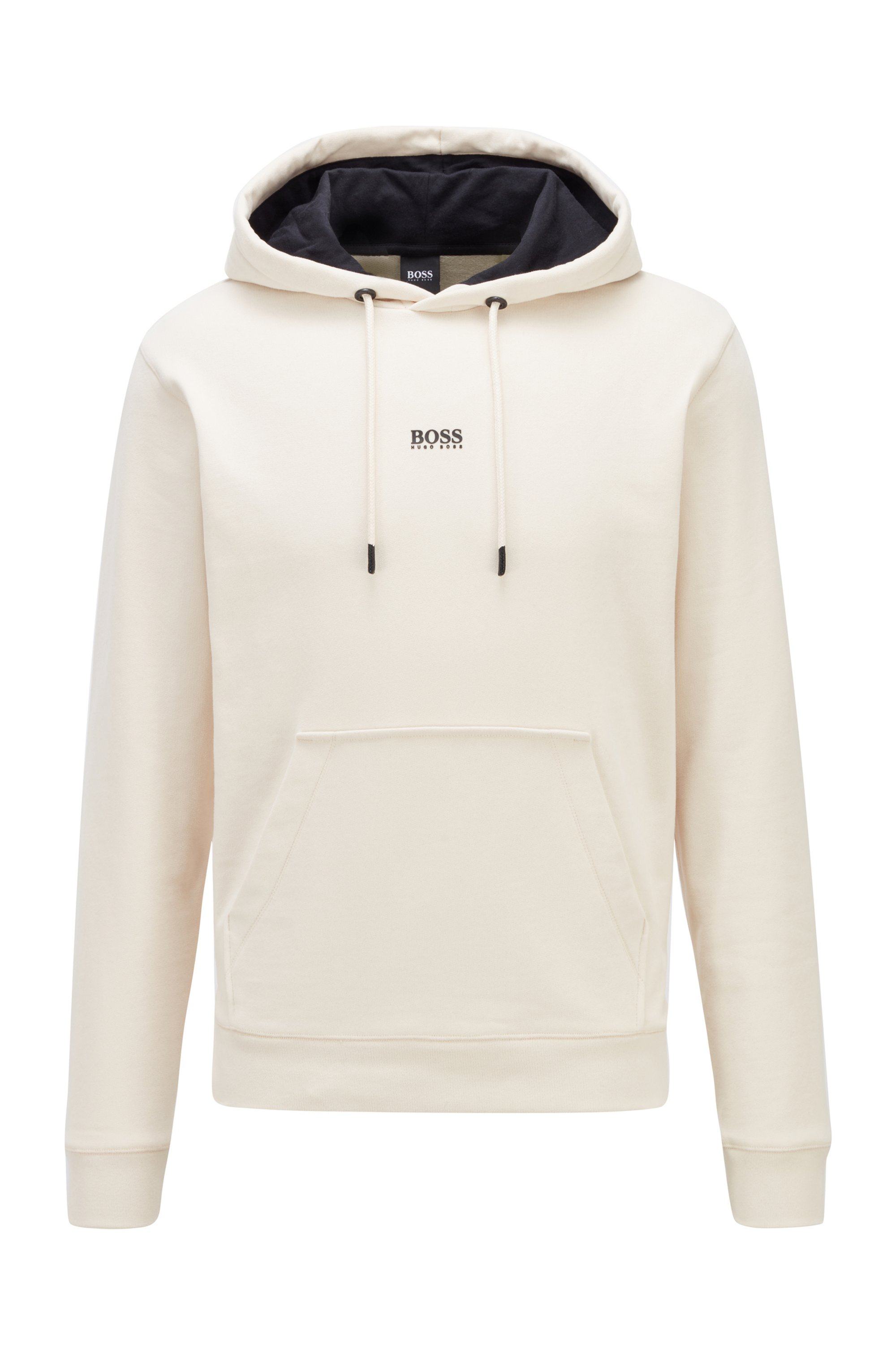 Relaxed-fit hooded sweatshirt in French terry with logo, White