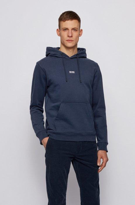 Relaxed-fit hooded sweatshirt in French terry with logo, Dark Blue