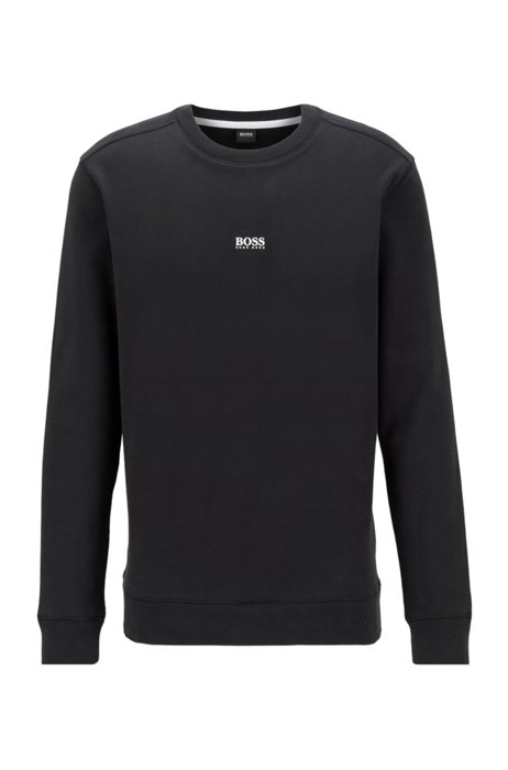 Relaxed-fit sweatshirt in French terry with contrast logo, Black