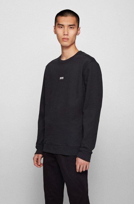 Relaxed-fit sweatshirt van badstof met contrastlogo, Zwart