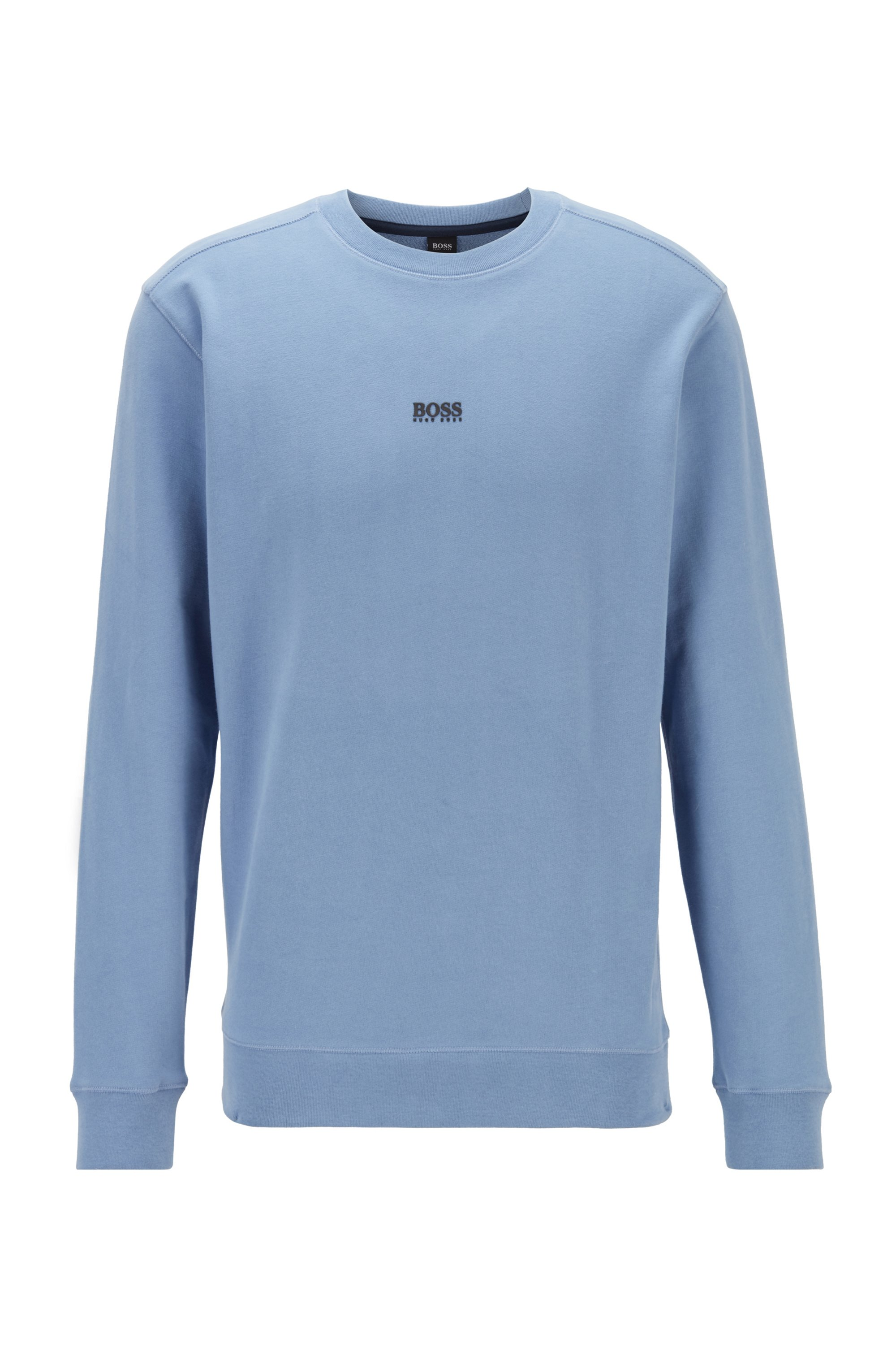 Relaxed-fit sweatshirt in French terry with contrast logo, Light Blue