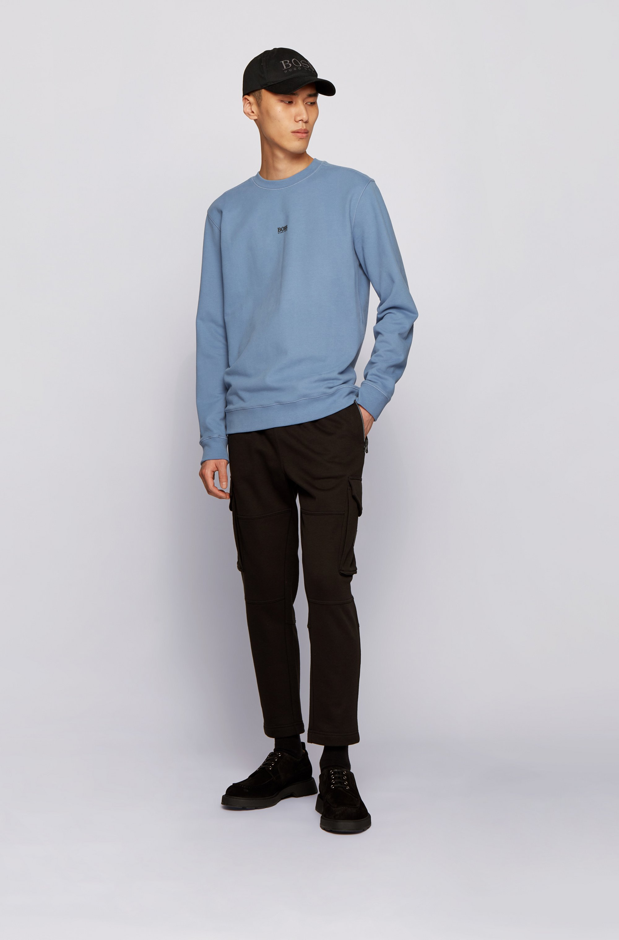 Relaxed-fit sweatshirt in French terry with contrast logo