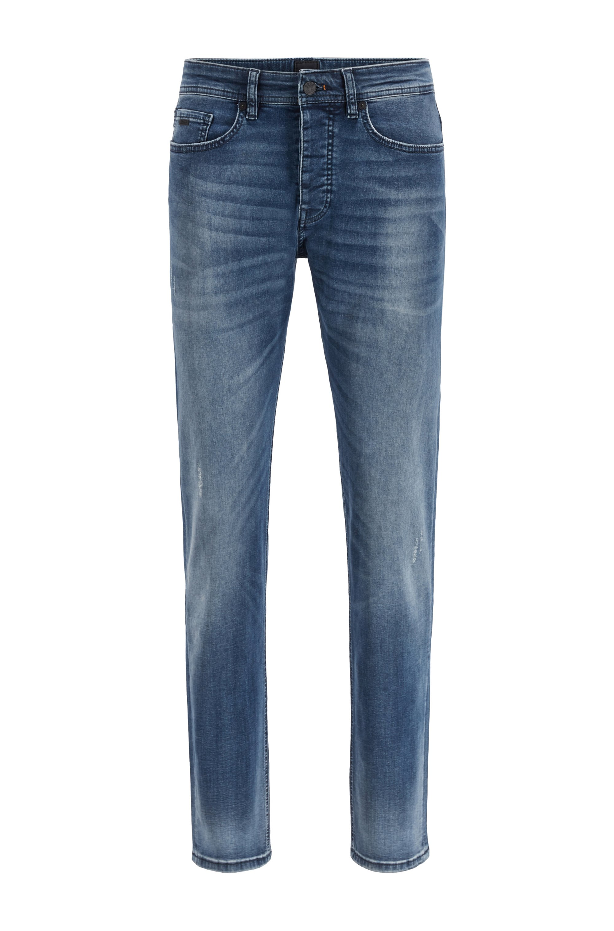Tapered-fit jeans in mid-blue super-stretch denim, Blue