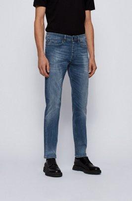 Tapered-fit jeans in mid-blue super-stretch denim, Blue