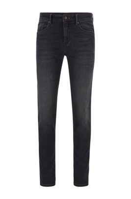 Skinny-fit jeans in dark-blue knitted denim, Dark Grey