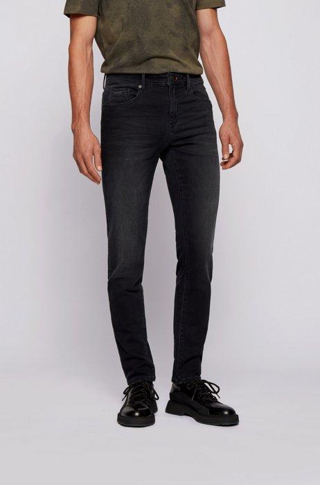 Skinny-Fit Jeans aus dunkelblauem Knit Denim, Dunkelgrau