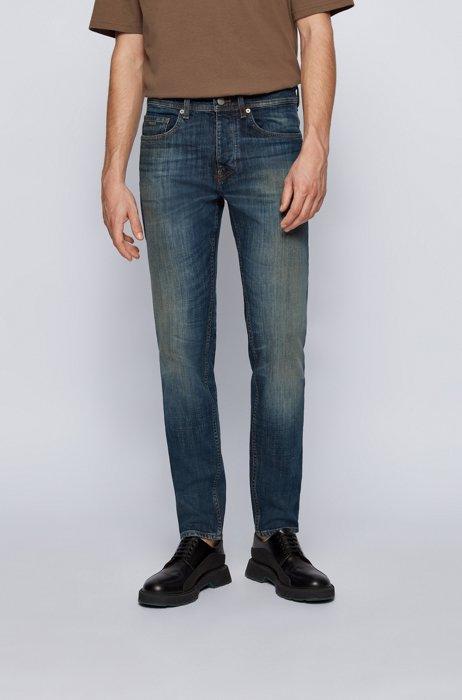 Jeans con fit affusolato in denim blu con sfumature, Blu scuro