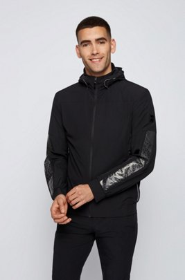 Regular-fit water-repellent jacket with reflective detailing, Black