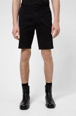 Slim-fit shorts in stretch-cotton gabardine, Black