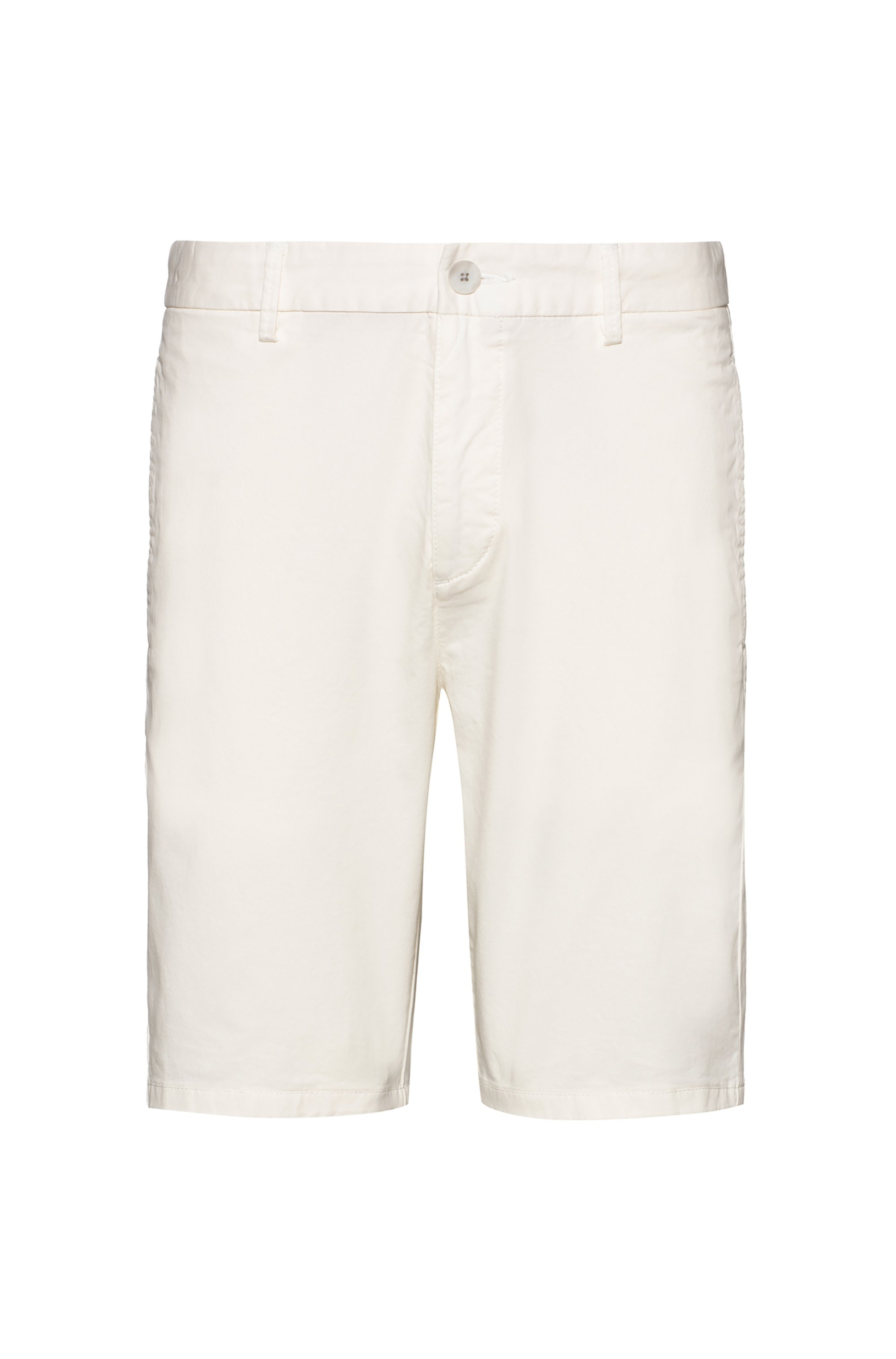 Slim-fit shorts in stretch-cotton gabardine, White