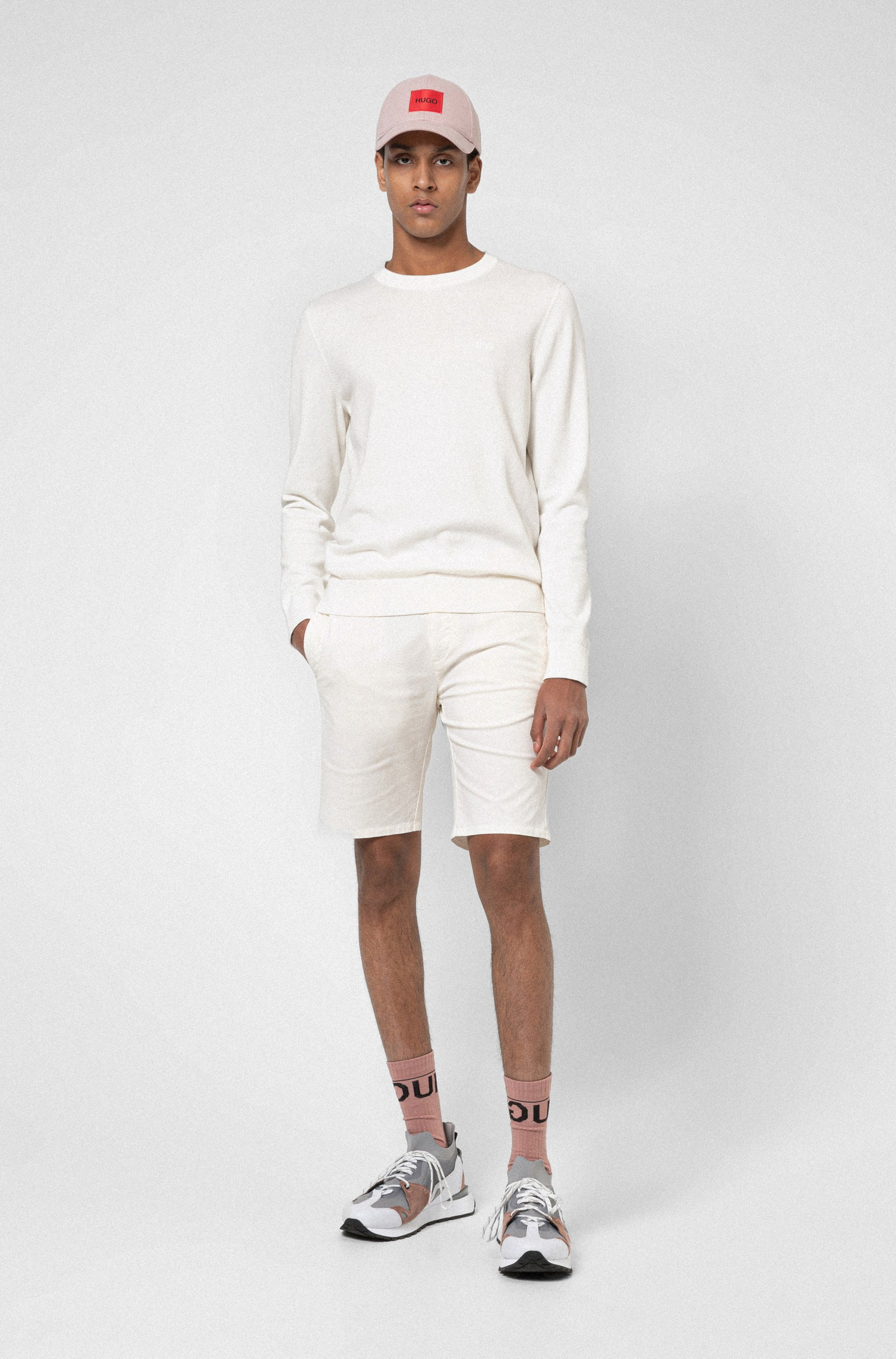Slim-fit shorts in stretch-cotton gabardine