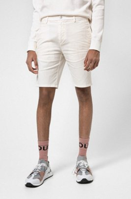 Slim-fit shorts in stretch-cotton gabardine, White