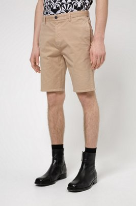 Slim-fit shorts in stretch-cotton gabardine, Beige