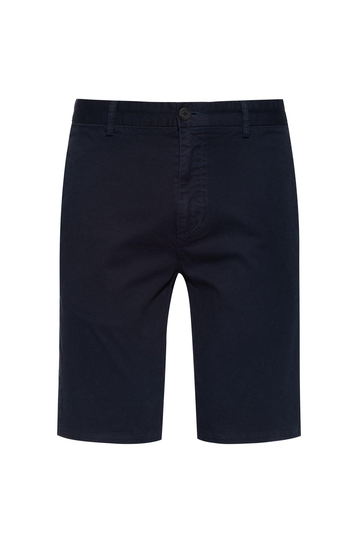 Slim-fit shorts in stretch-cotton gabardine, Dark Blue