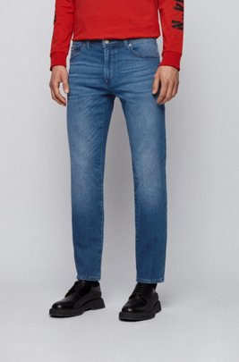 Regular-fit jeans in mid-blue knitted stretch denim, Blue