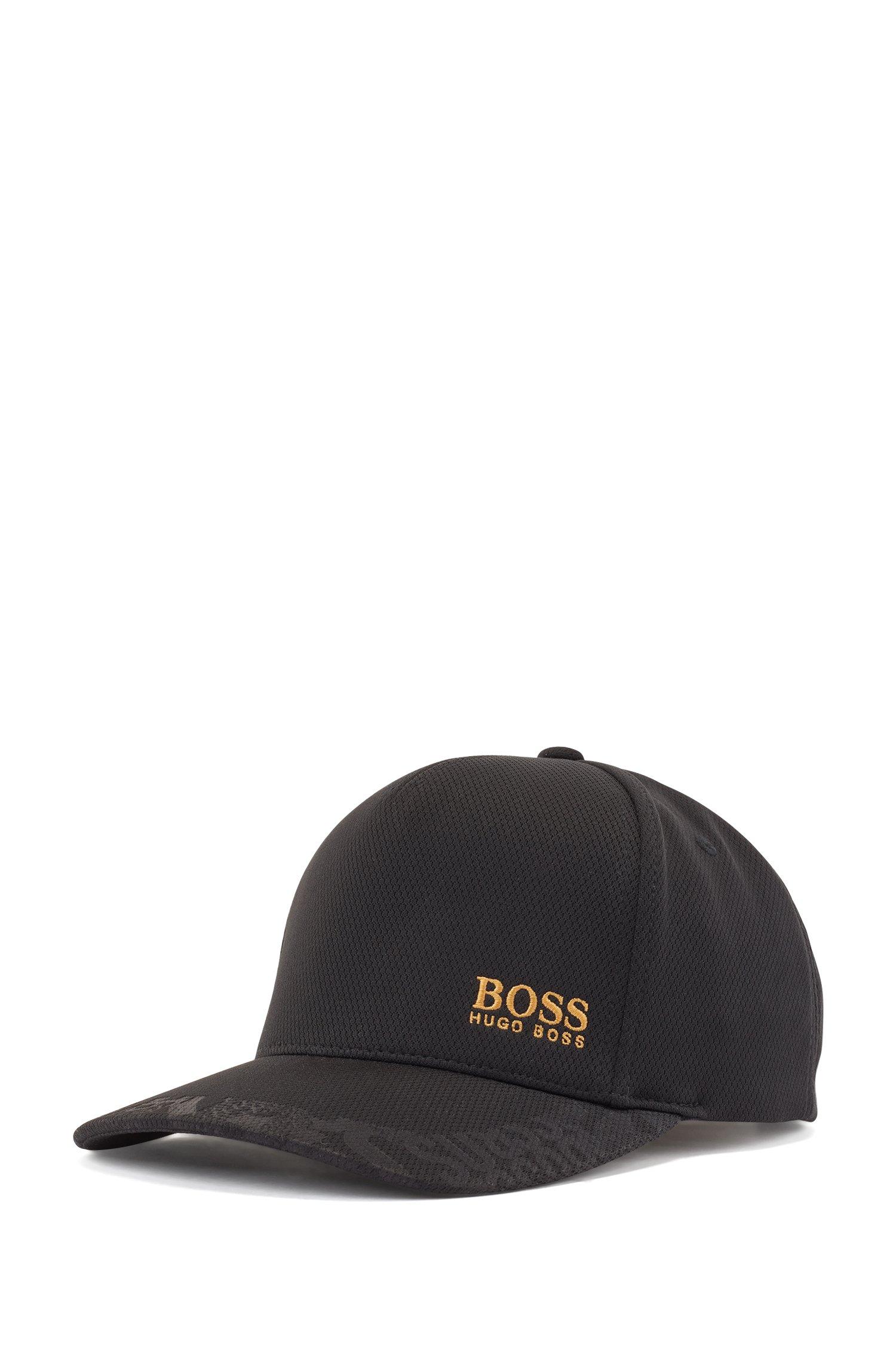 Honeycomb-jersey cap with gold-tone logo, Black