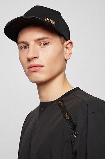 饰以金色徽标的蜂窝平纹针织面料鸭舌帽,  001_黑色