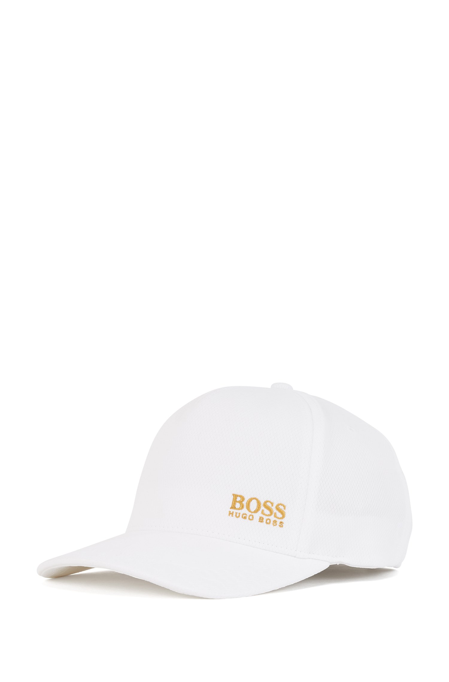 Honeycomb-jersey cap with gold-tone logo, White