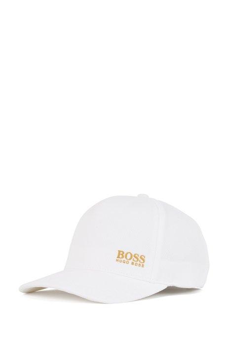 ハニカムジャージー キャップ ゴールドトーンロゴ, ホワイト