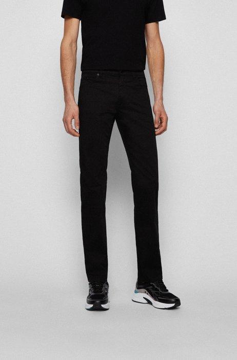 Jeans regular fit in comodo denim elasticizzato italiano, Nero