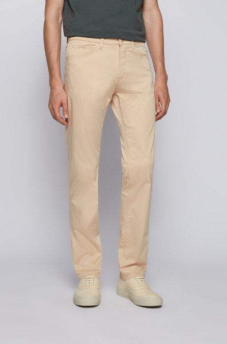 Regular-fit jeans in Italian comfort-stretch denim, Light Beige
