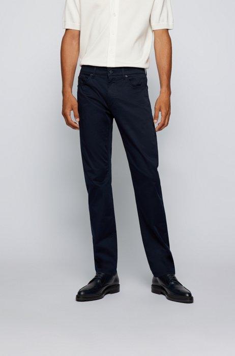 Jeans regular fit in comodo denim elasticizzato italiano, Blu scuro
