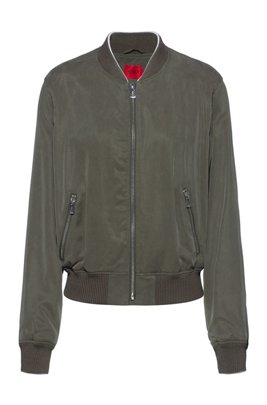 Relaxed-fit blouson jacket with embroidered Japanese cranes, Khaki