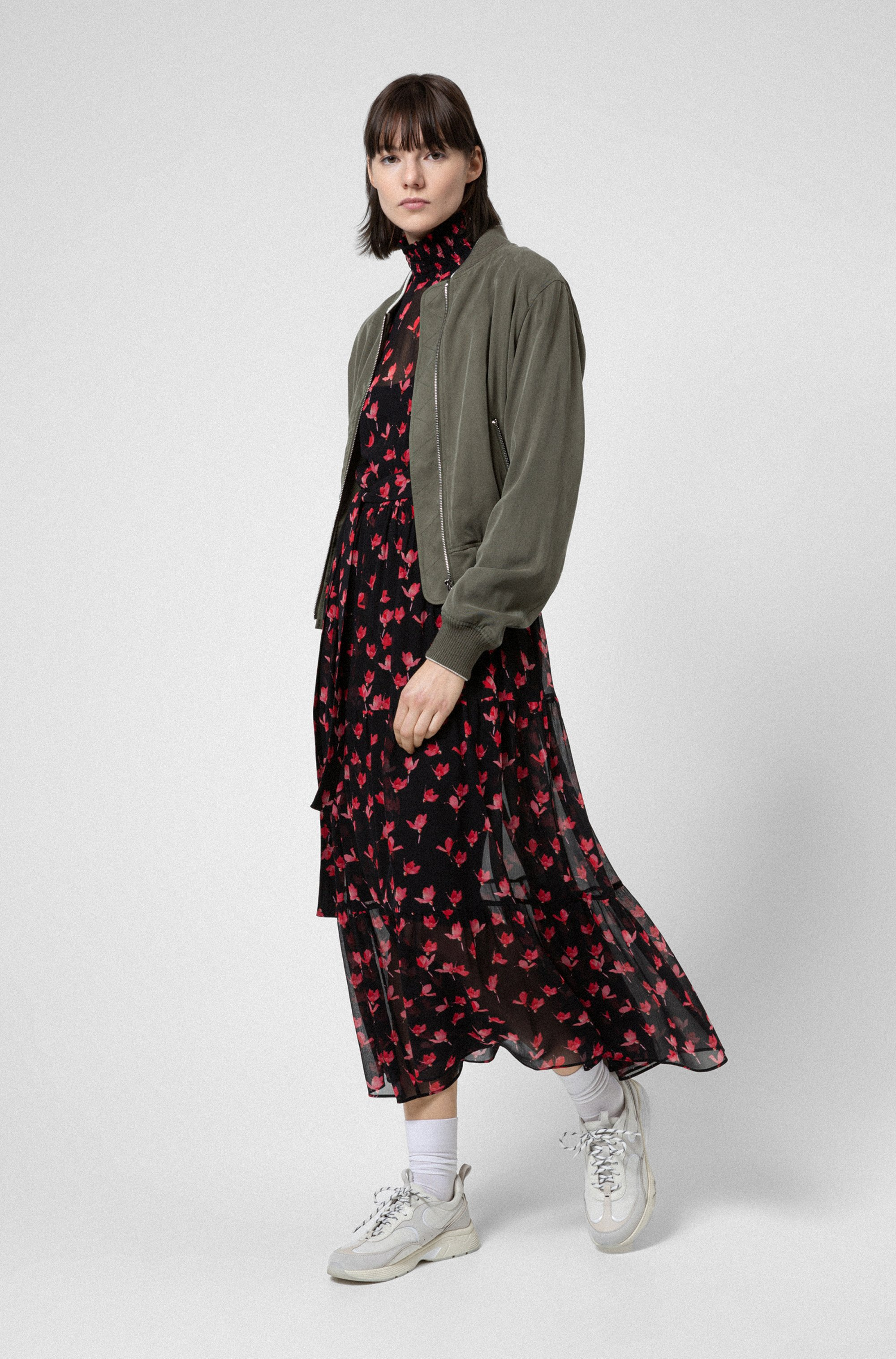 Relaxed-fit blouson jacket with embroidered Japanese cranes