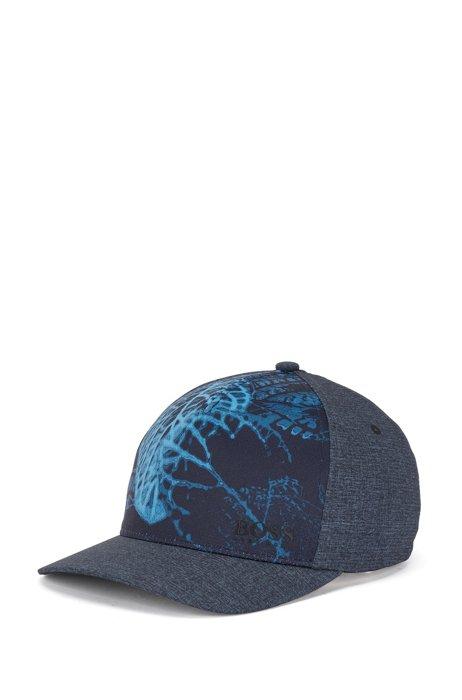 Botanical-print cap in stretch melange fabric, Dark Blue