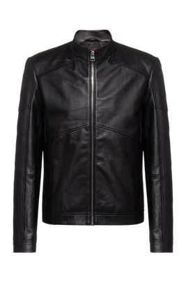 Giubbotto biker extra slim fit in nappa, Nero