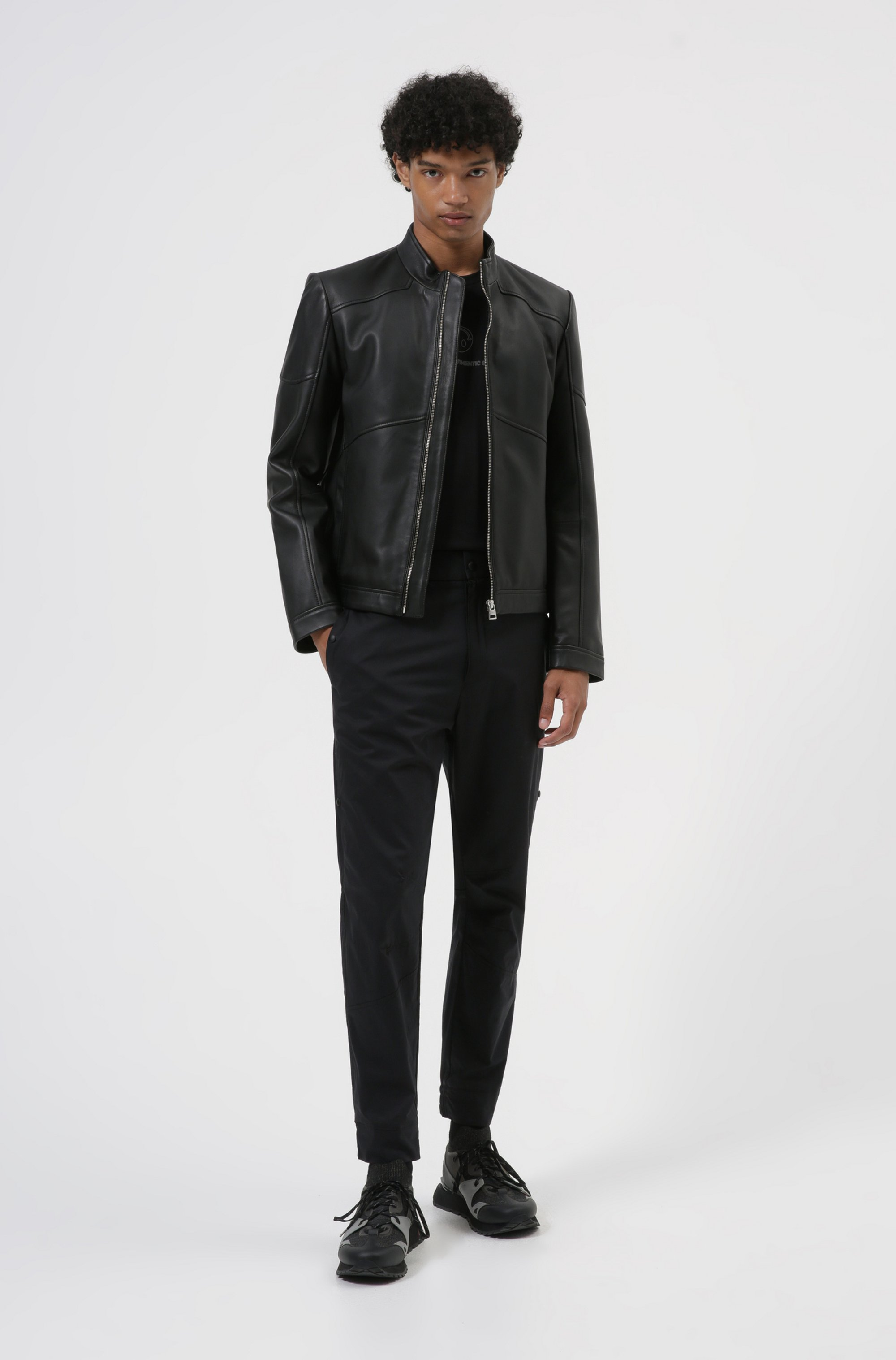 Extra-slim-fit biker jacket in nappa leather