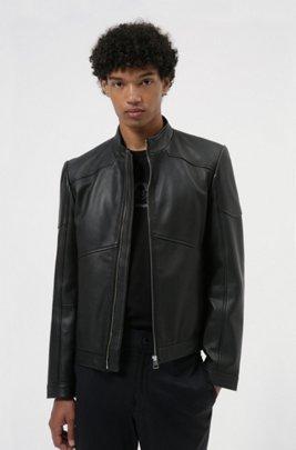 Extra-slim-fit biker jacket in nappa leather, Black