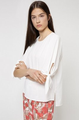 Tie-sleeve top in partially recycled stretch fabric, White