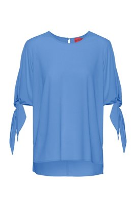 Tie-sleeve top in partially recycled stretch fabric, Turquoise