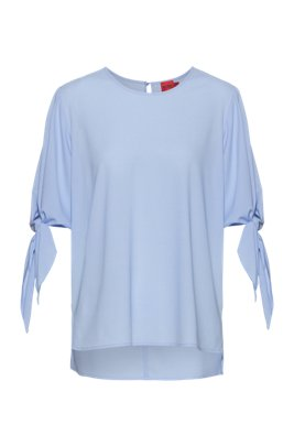 Tie-sleeve top in partially recycled stretch fabric, Light Blue