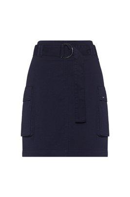 Jupe utilitaire teinte en pièce en coton biologique à teneur en stretch, Bleu foncé