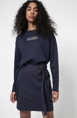 Garment-dyed utility skirt in organic cotton with stretch, Dark Blue