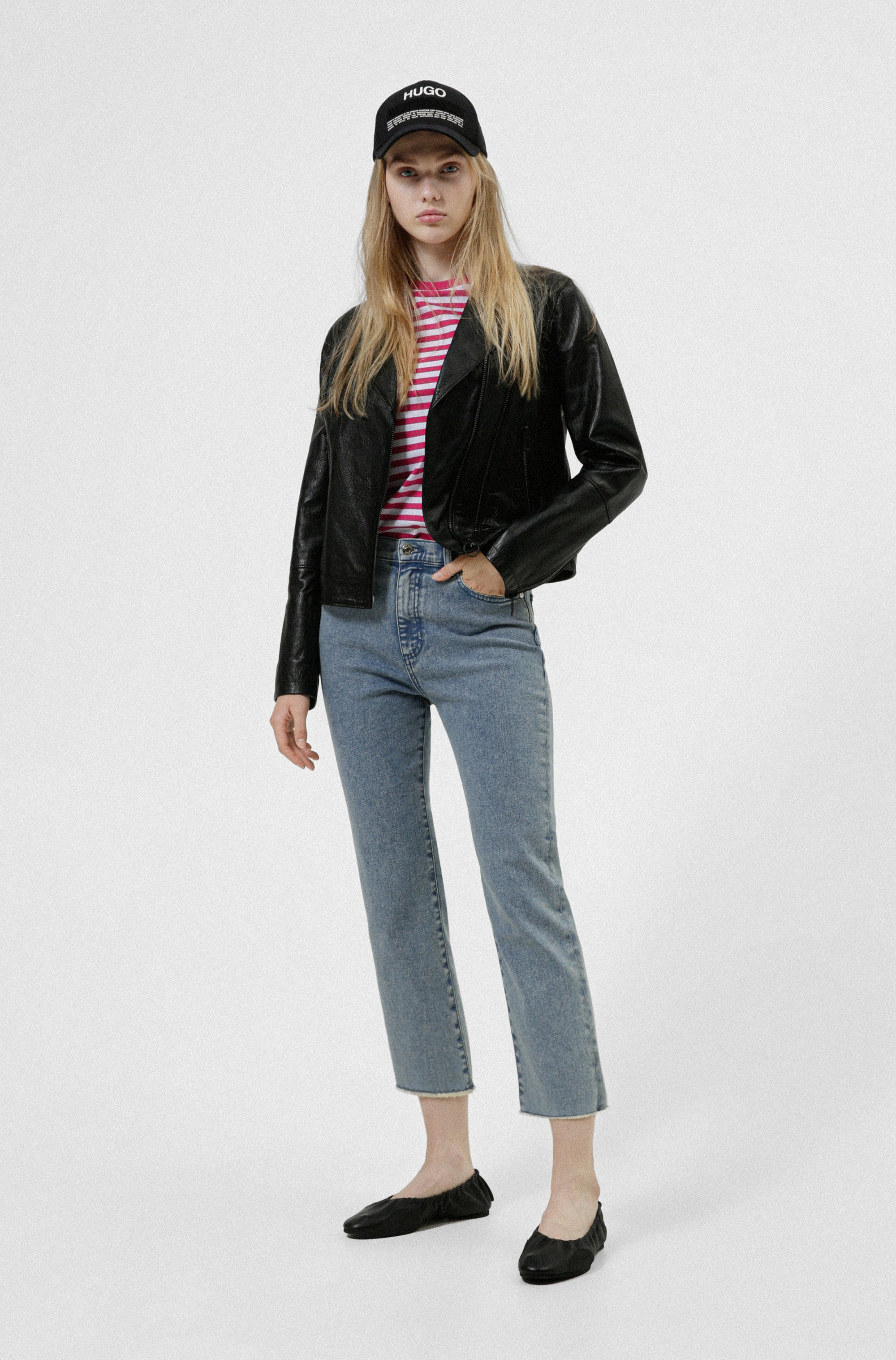 Relaxed-fit jeans van acid-washed stretchdenim
