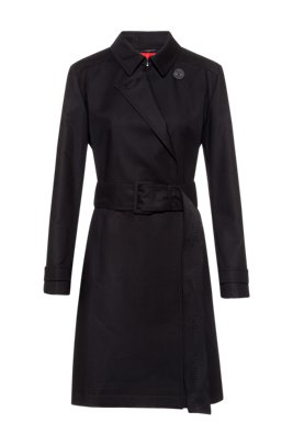 Water-repellent trench coat in organic cotton with stretch, Black