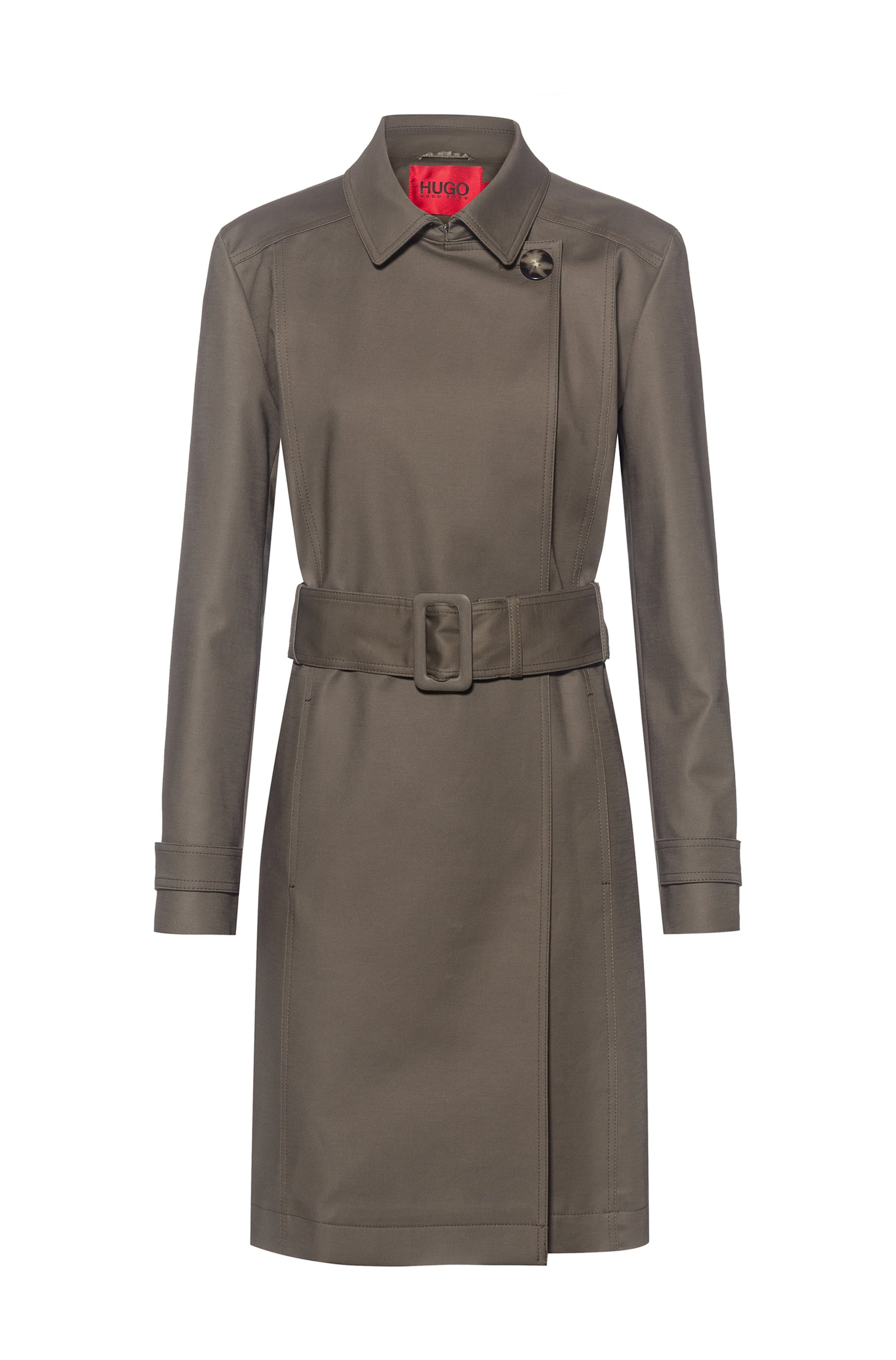 Water-repellent trench coat in organic cotton with stretch, Khaki