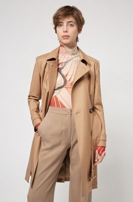 Water-repellent trench coat in organic cotton with stretch, Light Beige
