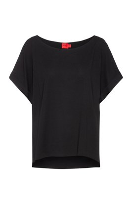 Relaxed-fit top with wide neckline, Black