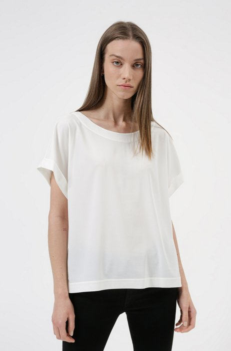 Relaxed-fit top with wide neckline, White
