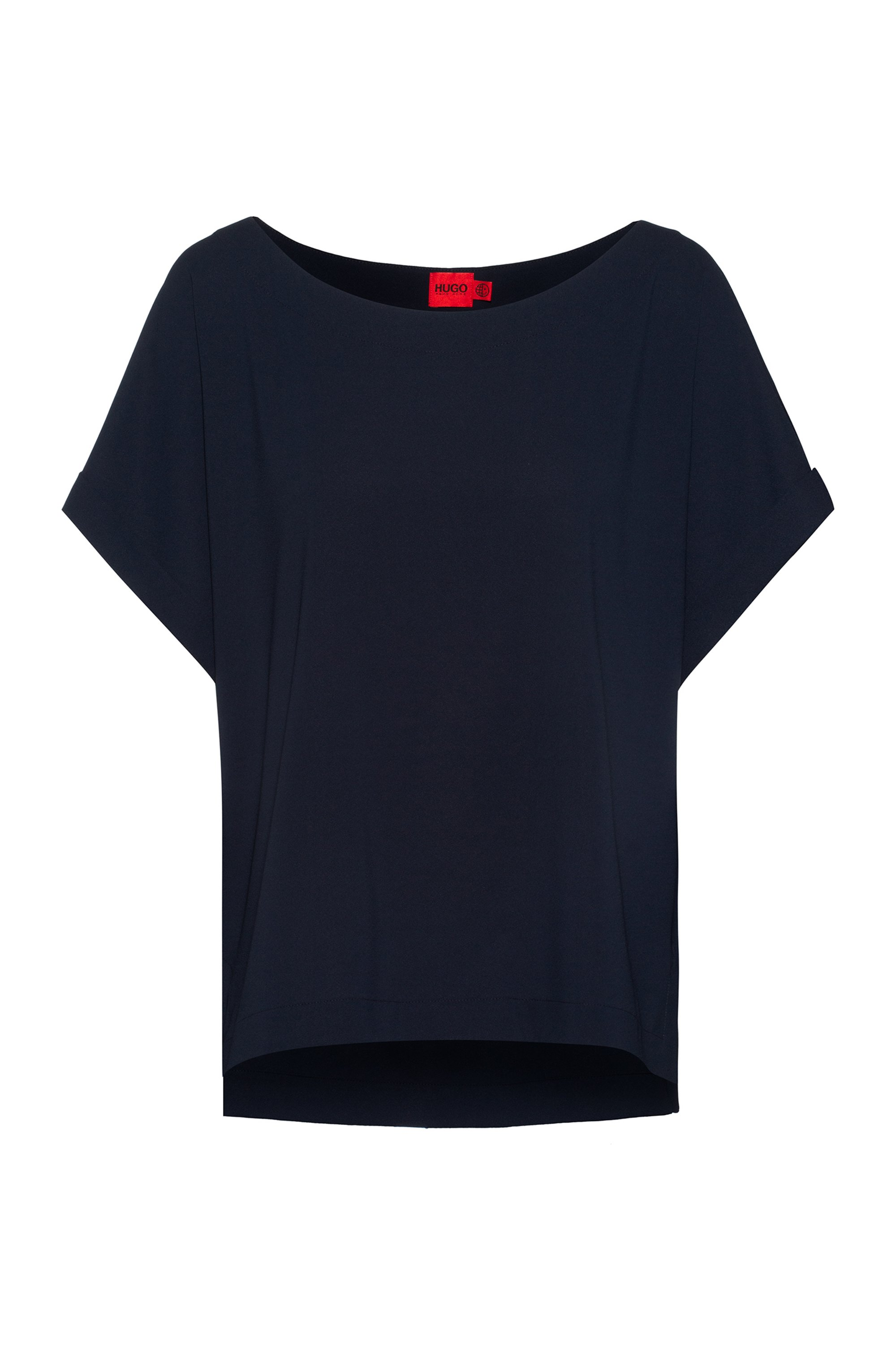 Relaxed-fit top with wide neckline, Light Blue