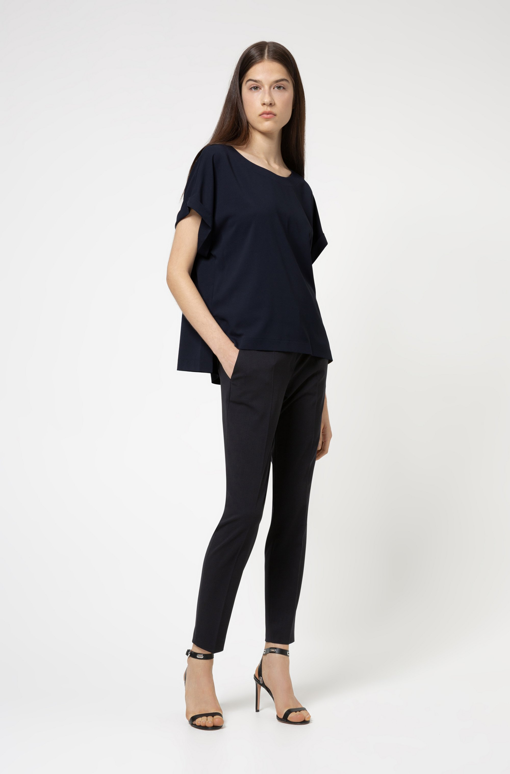 Relaxed-fit top with wide neckline