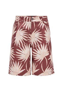 Relaxed-fit shorts in printed stretch-cotton twill, Brown Patterned