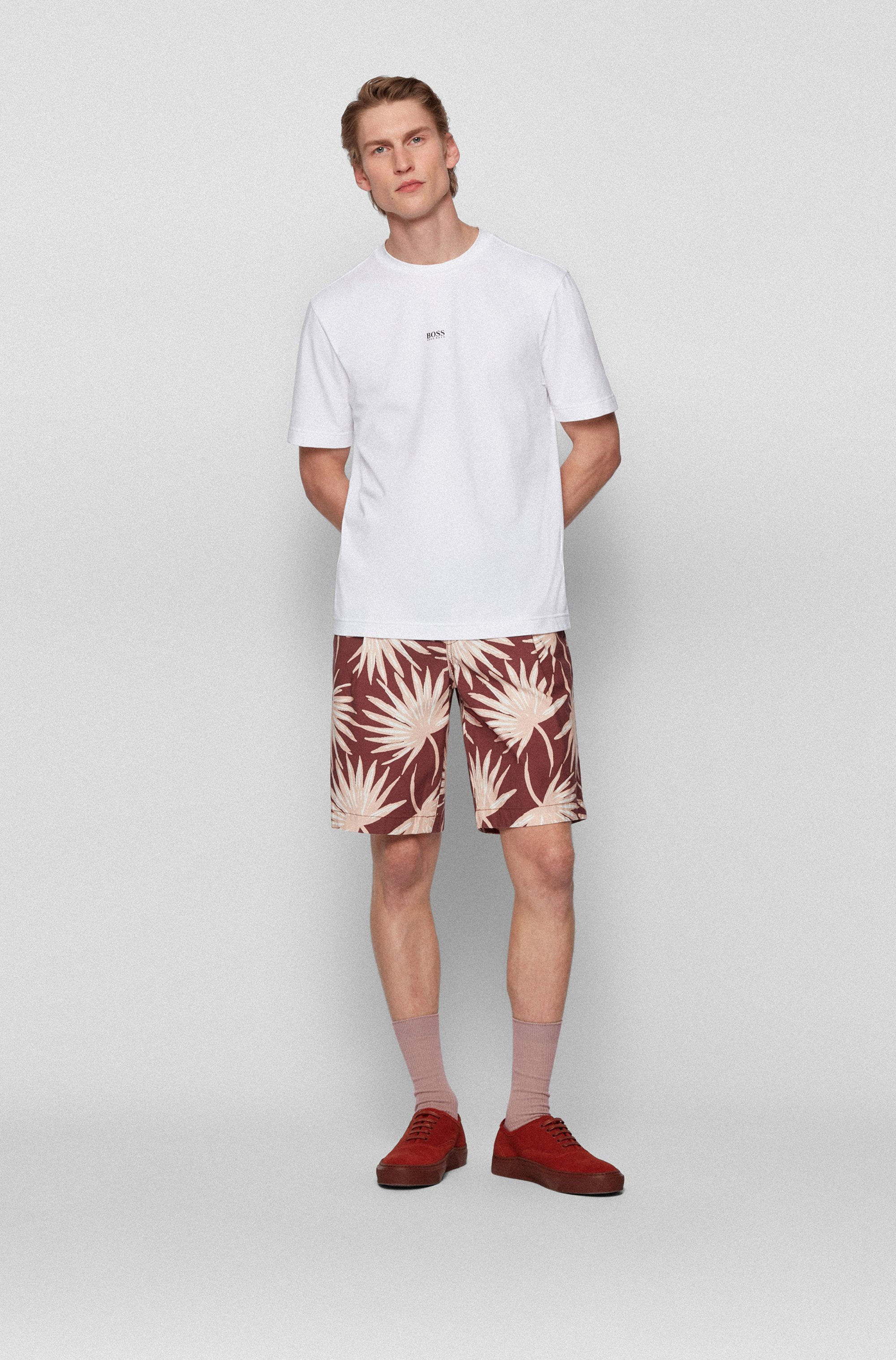 Relaxed-fit shorts in printed stretch-cotton twill