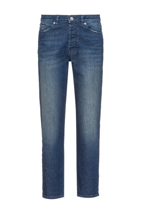 Relaxed-fit jeans in blue stretch denim, Blue