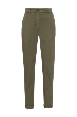 Regular-fit chinos in organic cotton with stretch, Khaki