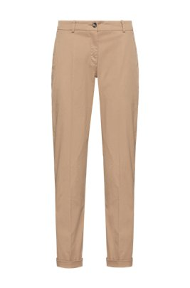 Regular-fit chinos in organic cotton with stretch, Light Beige